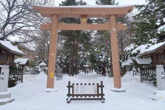 琴似神社 第一鳥居 冬