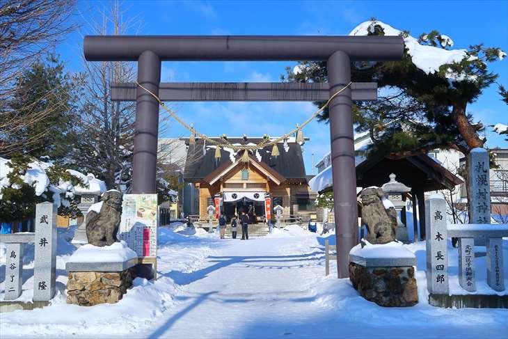 札幌村神社 鳥居 冬