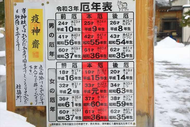 札幌村神社の厄年