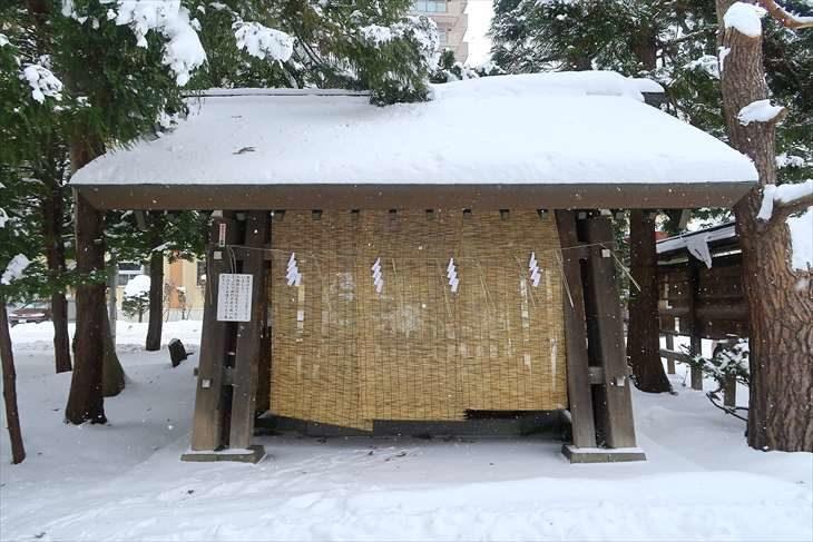 琴似神社 冬の手水舎