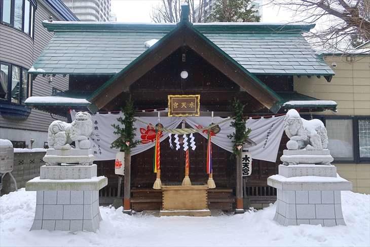 札幌水天宮 社殿 冬