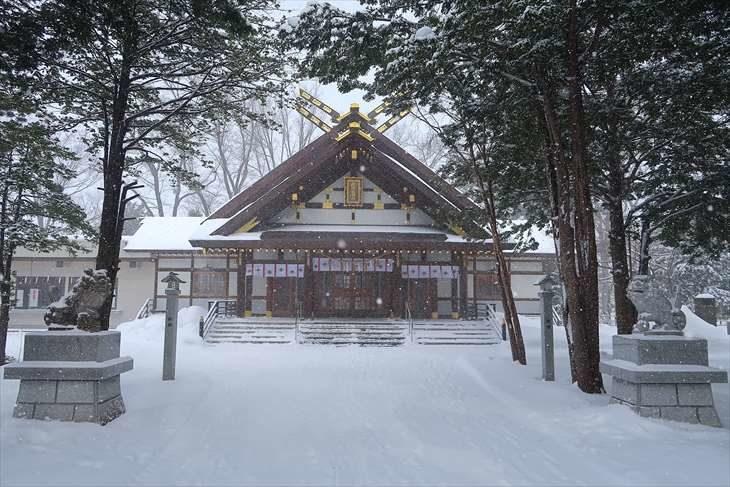 新琴似神社 社殿と狛犬様(冬)