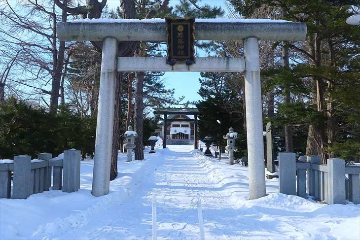 篠路神社 第一鳥居 冬
