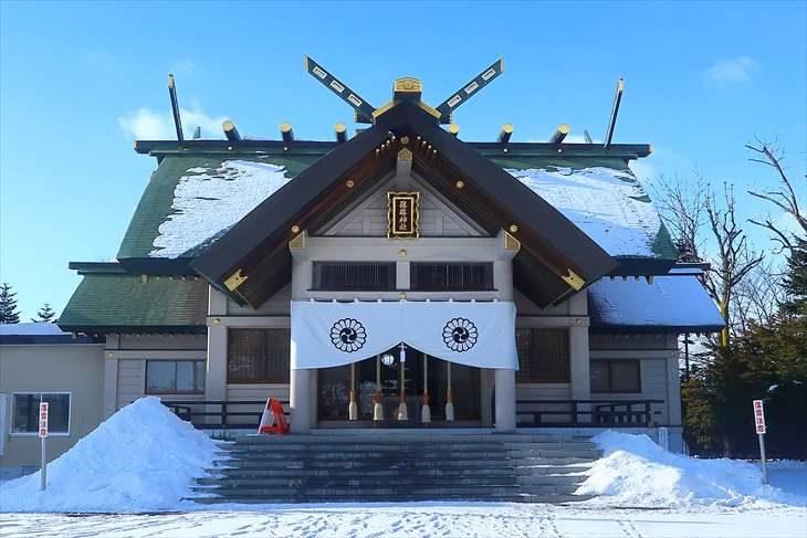 篠路神社 社殿 冬