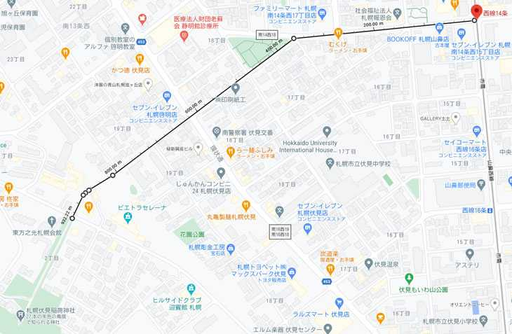 西線14条駅から札幌伏見稲荷神社までの実際のルート