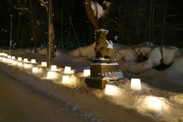定山渓神社 夜の狛犬様