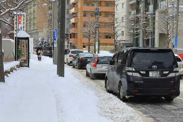 札幌 弥彦神社前の駐車状態