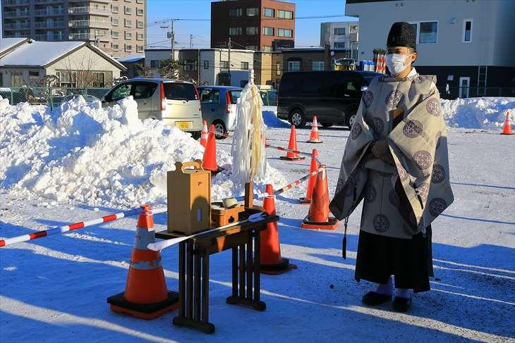 厚別神社の冬の祭事「どんど焼き(古神札焼納祭)」